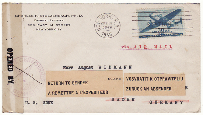 [17094]  USA-GERMANY...POST WAR CENSORED AIRMAIL & RETURN TO SENDER..  1946 (Sep 13)