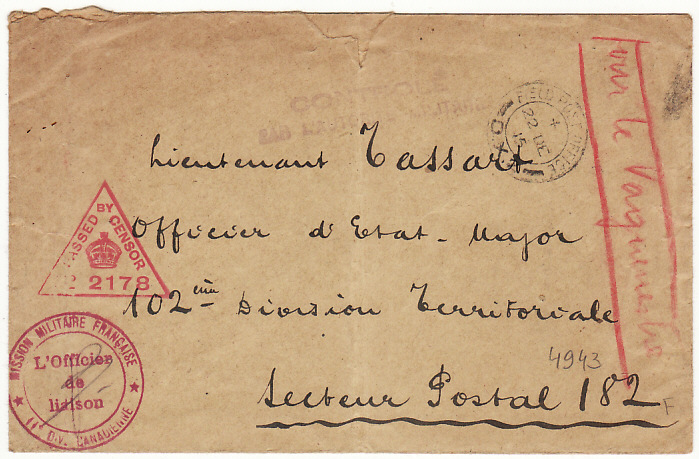 [17099]  FRANCE...WW1 CANADIAN FORCES to FRENCH LIAISON FORCES..  1915 (Dec 22)