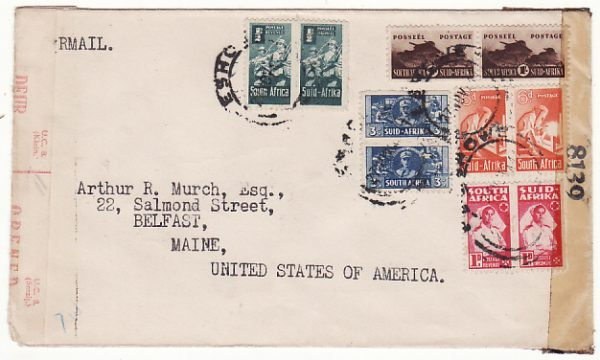 SOUTH AFRICA-USA ...WW2 ZULULAND NATAL AIRMAIL & DOUBLE CENSORED