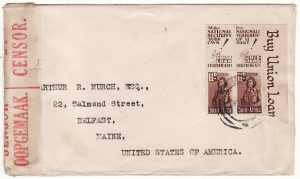 SOUTH AFRICA-USA..WW2 ZULULAND NATAL  CENSORED& with  PATRIOTIC TABS