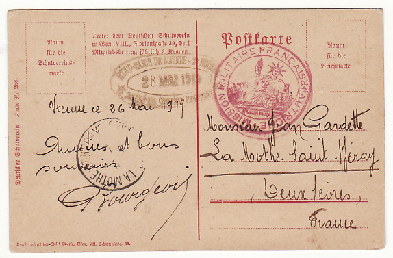 [17088]  AUSTRIA-FRANCE…1919 FRENCH MILITARY MISSION to AUSTRIA  1919 (May 26)