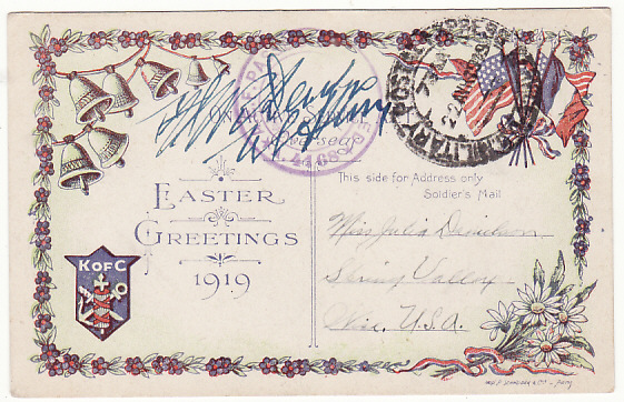 [17091]  USA..WW1 FORCES in FRANCE on EASTER GREETINGS CARD..  1919 (Apr 20)