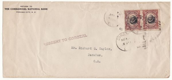 CANAL ZONE….1917 INTERNAL MAIL MISSENT TO COROZAL