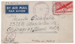 USA..WW2 AIRMAIL from POCZTA POSTA 123..