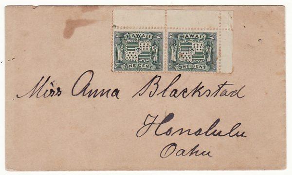 HAWAII...1900 INTERNAL MAIL KAUAI to HONOLULU.