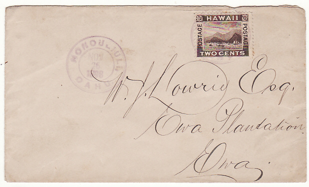 [17147]  HAWAII..1898 INTERNAL MAIL HONOLULU to EWA PLANTATION EWA  1898(Nov 26)