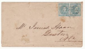 USA …1862-64 CONFEDERATE 5c RALEIGH NC to GASTON NC..
