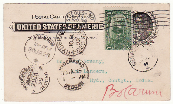 USA-INDIA...1898 POSTAL CARD with 1c EXPOSITION to 5th LANCERS in INDIA..