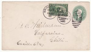 USA-CHILE ..1898 4c STATIONARY NJ with 1c EXPOSITION to CHILE