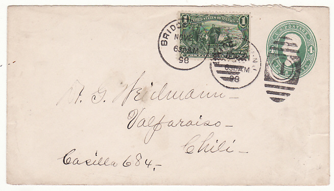 [17157]  USA-CHILE ..1898 4c STATIONARY NJ with 1c EXPOSITION to CHILE  1898 (Nov 21)