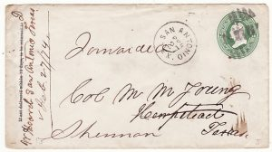 USA..1874  SAN ANTONIO TEXAS to HEMPSTEAD & forwarded to SHERMAN