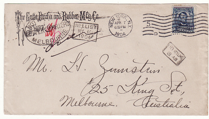 [17161]  USA-AUSTRALIA..1904 NOT KNOWN LETTER CARRIERS MELBOURNE.  1904 (Apr 7)