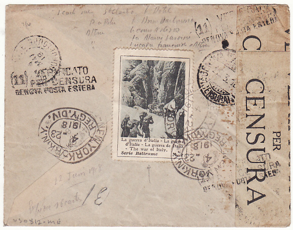 [17214]  ITALY - GUADALOUPE..1918 REGISTERED CENSORED COVER to GUADALOUPE..  1918(Mar 28)