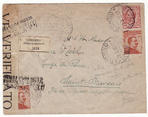 ITALY - GUADALOUPE..1918 REGISTERED CENSORED COVER to GUADALOUPE..
