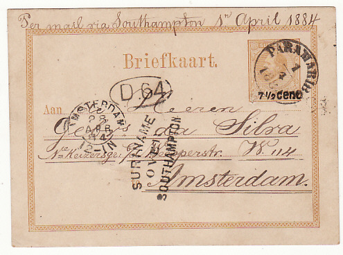 NED. WEST INDIES...SURINAME POSTAL STATIONARY to HOLLAND..