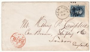 USA-GB..1879 5c BLUE NEW YORK to LONDON..