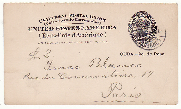 [17173]  CUBA-FRANCE..USA POSSESSIONS..CUBA 2c UPU POSTAL CARD to PARIS..  1899(Apr 7)