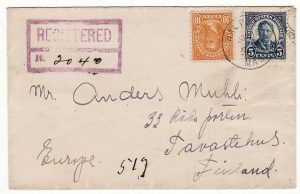 USA-FINLAND ..1923 REGISTERED WALPOLE MASS. to TAVASTEHUS..