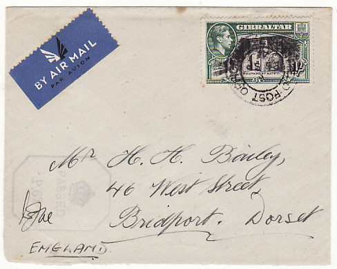 [17197]  GIBRALTAR - GB...1941 AIR MAIL with losenge CROWN / PASSED / P.67 h/s...  1941(Sep 25)