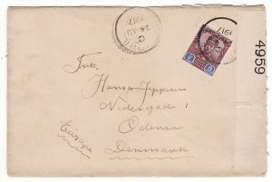 MALAYA-DENMARK...1917 WW1 JOHORE CENSORED