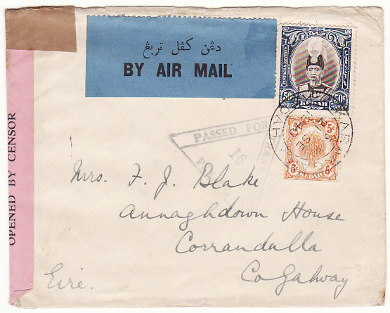 MALAYA-IRELAND...1940 KEDAH WWW2 AIRMAIL via BOAC
