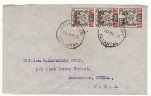 MALAYA - USA...1939 KELANTAN to KEDAH