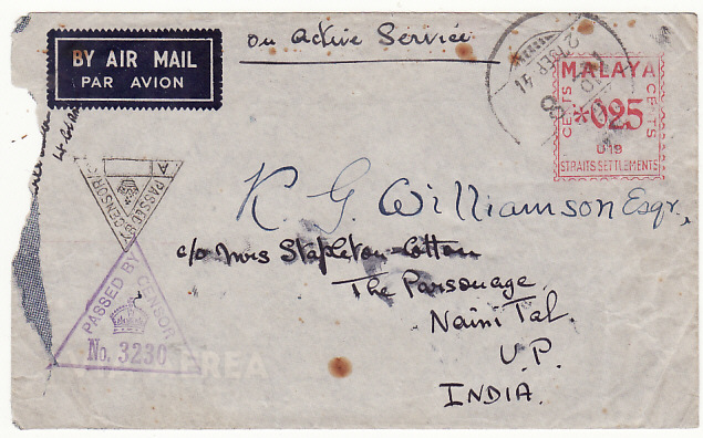 [17275]  MALAYA-INDIA...1941 WW2 STRAITS SETTLEMENTS & CENSORED   1941(Sep 27)