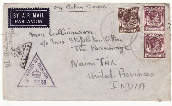 MALAYA-INDIA...1941 WW2 STRAITS SETTLEMENTS & CENSORED