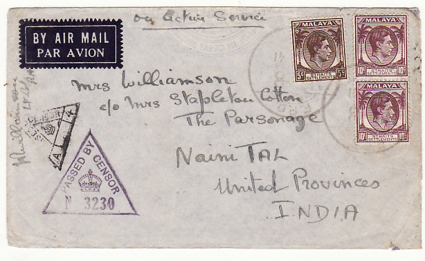 [17276]  MALAYA-INDIA...1941 WW2 STRAITS SETTLEMENTS & CENSORED   1941(Nov - -)