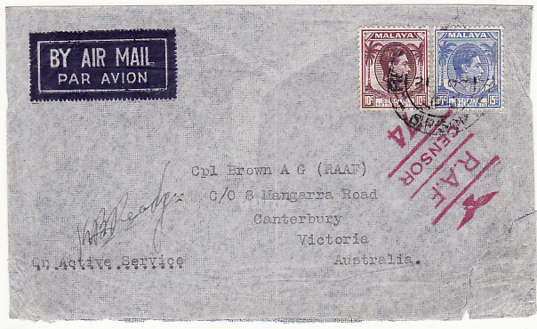 [17278]  MALAYA-AUSTRALIA...1941 WW2 STRAITS SETTLEMENTS with RAF CENSOR..   1941(Oct 21)