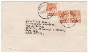 MALAYA-SOUTH AFRICA...1948 STRAITS SETTLEMENTS B.M.A.with ADDITIONAL POSTAGE ADDED..