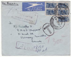 SOUTH AFRICA-CANADA..1946 TAXED POSTAGE DUE to ex WW2 HONG KONG POW SURVIVOR ...............