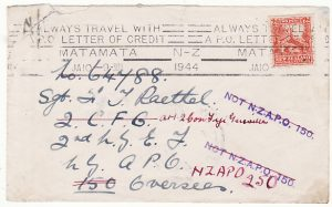 NEW ZEALAND..1944 2nd NZEF 150 FORWARDED to 2nd CON. FIJI GUERILLAS…..
