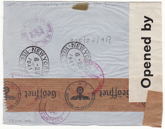 [17298]  BELGIUM-USA...1941 WW2 REGISTERED DOUBLE CENSORED AIRMAIL in TRINIDAD ...  1941 (Apr 7)