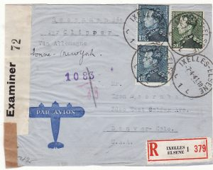 BELGIUM-USA...1941 WW2 REGISTERED DOUBLE CENSORED AIRMAIL in TRINIDAD ...
