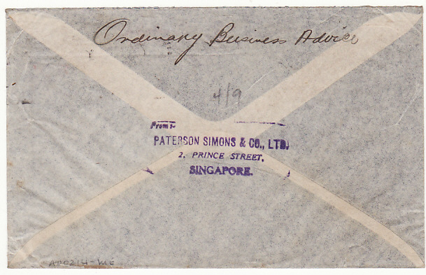 [17336]  MALAYA-AUSTRALIA...1940 WW2 STRAITS SETTLEMENTS CENSORED   1940(May 24)