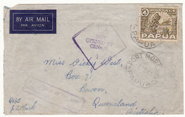 [17338]  PAPUA & NEW GUINEA-AUSTRALIA...1941 WW2 NOT OPENED BY CENSOR...   1941(Feb 8)