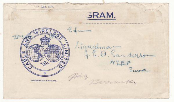 NEW ZEALAND-FIJI...WW2 CABLE & WIRELESS CHRISTMAS GREETINGS TELEGRAM...