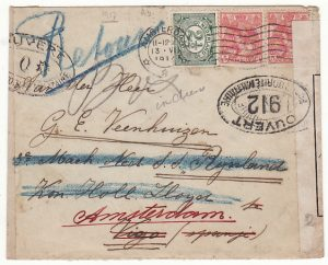 NETHERLANDS-SPAIN... 1917 OPENED by FRENCH CENSORS in LONDON & RETURNED TO SENDER...