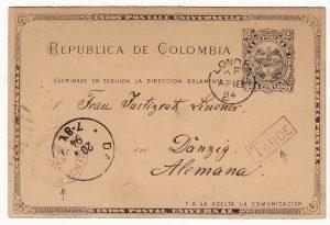 COLOMBIA-DANZIG... 1894 POSTAL AGENCY & TARDE MARKING...
