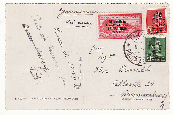 [17538]  ALBANIA - GERMANY...1939 AIRMAIL POSTCARD ITALIAN OCCUPATION...  1939 (Jul 10)