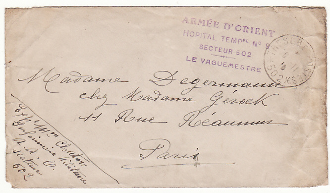 [17540]  GREECE - FRANCE...WW1 ARMY DE ORIENT HOSPITAL...  1916 (Nov 5)