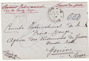 ARGENTINA-SWITZERLAND...WW1 AGENCY of PRISONERS OF WAR RED X GENEVA...