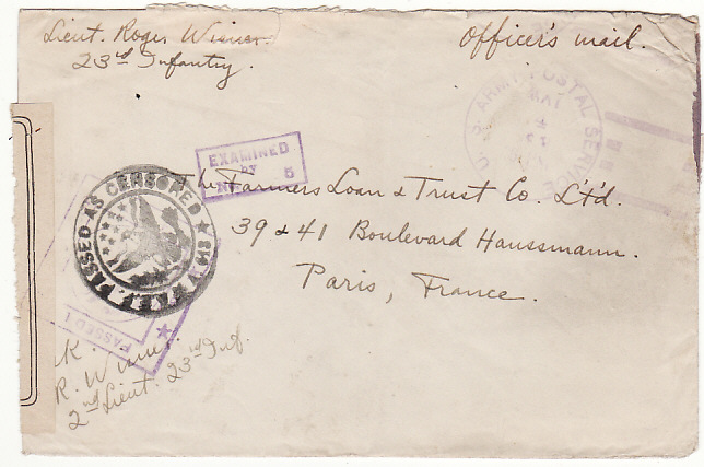 [17544]  USA...WW1 A.E.F. In FRANCE...IMPROVISED CANCELLATION...  1918 (May 4)