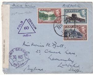 CEYLON - GB.....WW2 CENSORED AIRMAIL...