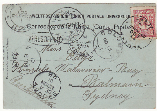 [17565]  TURKEY - AUSTRALIA.....1901 POST CARD...  1901 (Oct 14)