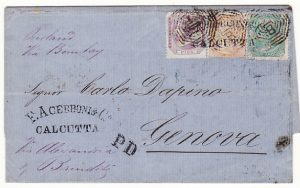 INDIA - ITALY... 1873 THREE COLOUR FRANKING to GENOA...