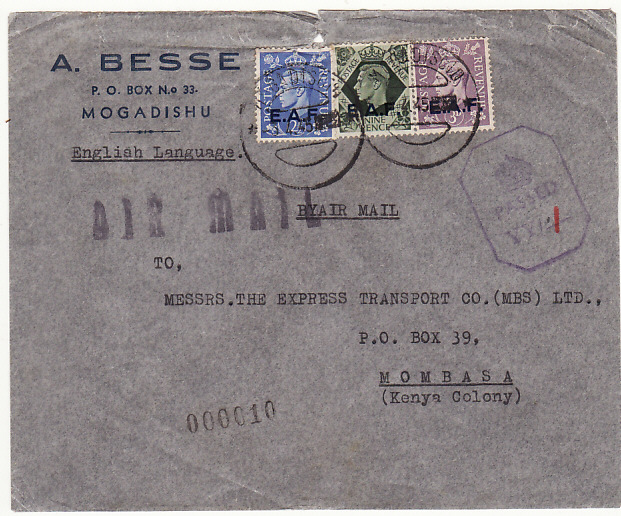 [17577]  B.O.F.I.C....ITALIAN SOMALILAND CENSORED AIRMAIL to KENYA...   1945 (Apr 3)