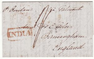 INDIA - GB...1843 PRE-STAMP CALCUTTA STEAMLETTER...