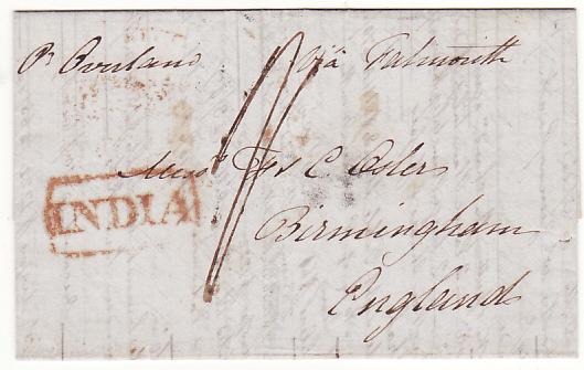 INDIA - GB...1843 PRE-STAMP CALCUTTA STEAMLETTER...